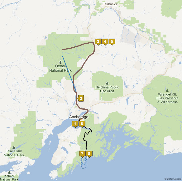 8 Day Denali In Depth Alaska Tour Map Alaska Adventure Unlimited